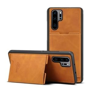 PU + TPU Protective Case with Card Slots for Huawei P30 Pro(Khaki)