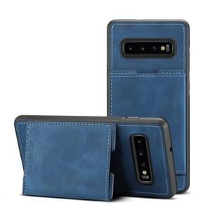 PU + TPU Protective Case with Card Slots for Galaxy S10+(Blue)