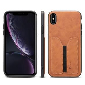 PU + TPU Protective Case with Card Slots for iPhone XS Max(Brown)
