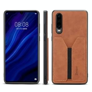 PU + TPU Protective Case with Card Slots for Huawei P30(Brown)