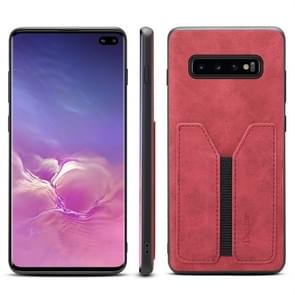 PU + TPU Protective Case with Card Slots for Galaxy S10+(Red)