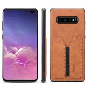 PU + TPU Protective Case with Card Slots for Galaxy S10+(Brown)