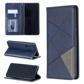 Rhombus Texture Horizontal Flip Magnetic Leather Case with Holder & Card Slots For Huawei P30(Blue)