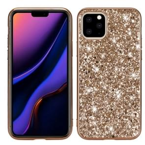 Glitter poeder schokbestendig TPU beschermhoes voor iPhone XI Max (2019) (goud)