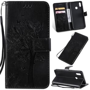 Tree & Cat Pattern Pressed Printing Horizontal Flip PU Leather Case with Holder & Card Slots & Wallet & Lanyard For Vivo Y93 / Y91 / Y95(Black)