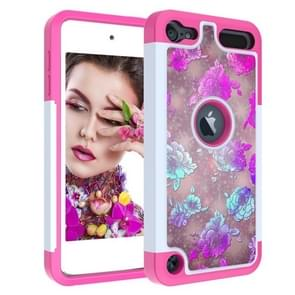 Coloured Drawing Pattern PC + TPU Protective Case for iPod touch 5 / 6 / 7 (2019)(Peony)