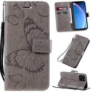 Pressed Printing Butterfly Pattern Horizontal Flip PU Leather Case with Holder & Card Slots & Wallet & Lanyard For iPhone 11 Pro(Grey)
