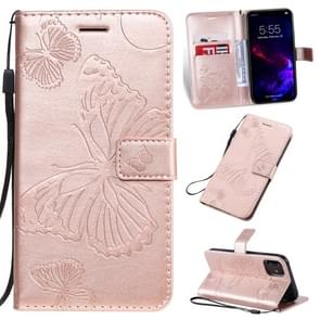 Pressed Printing Butterfly Pattern Horizontal Flip PU Leather Case with Holder & Card Slots & Wallet & Lanyard For iPhone 11(Rose Gold)
