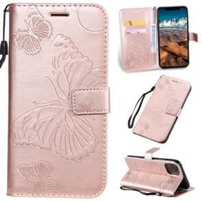 Gedrukt afdrukken Butterfly patroon horizontale Flip PU lederen draagtas met houder & kaartsleuven & portemonnee & Lanyard voor iPhone XI Max 2019 (Rose goud)
