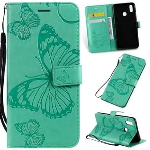 Pressed Printing Butterfly Pattern Horizontal Flip PU Leather Case with Holder & Card Slots & Wallet & Lanyard For Vivo Y93 / Y91 / Y95(Green)
