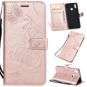 Pressed Printing Butterfly Pattern Horizontal Flip PU Leather Case with Holder & Card Slots & Wallet & Lanyard For Vivo Y93 / Y91 / Y95(Rose Gold)