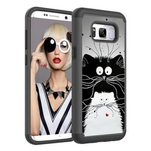 Coloured Drawing Pattern PC + TPU Protective Case for Galaxy S8(Black and White Cats)