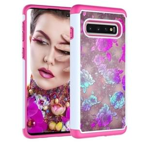 Coloured Drawing Pattern PC + TPU Protective Case for Galaxy S10+(Peony)