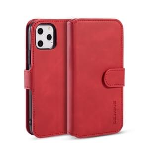 DG.MING Retro Oil Side Horizontal Flip Case with Holder & Card Slots & Wallet for iPhone 11 Pro(Red)