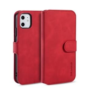 DG.MING Retro Oil Side Horizontal Flip Case with Holder & Card Slots & Wallet for iPhone 11(Red)