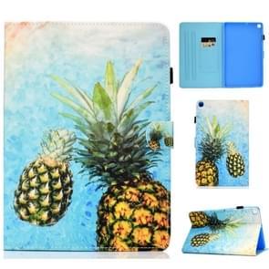 Gekleurde tekening patroon horizontale Flip PU lederen draagtas met houder & kaartsleuven voor Galaxy tab A 10 1 (2019)/T510/T515 (ananas)