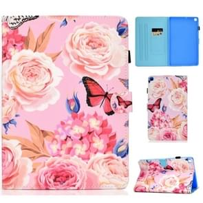 Colored Drawing Pattern Horizontal Flip PU Leather Case with Holder & Card Slots & Sleep / Wake-up Function for Galaxy Tab S5e 10.5 / T720 / T725(Flower Butterfly)