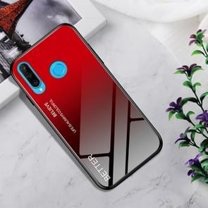Schokbestendig gehard glas + TPU Case voor Huawei P30 Lite (zwart rood)