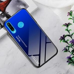 Shockproof Tempered Glass + TPU Case For Huawei P30 Lite(Black Blue)