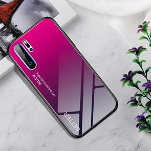 Shockproof Tempered Glass + TPU Case For Huawei P30 Pro(Rose Red)