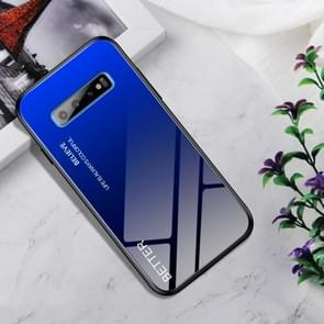 Shockproof Tempered Glass + TPU Case For Galaxy S10+(Black Blue)