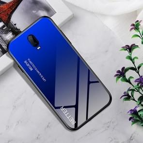 Shockproof Tempered Glass + TPU Case For OPPO R17(Black Blue)