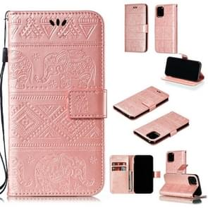 Elephant Embossing Horizontal Flip Leather Case with Holder & Card Slots & Wallet & Lanyard for iPhone 11 Pro(Rose Gold)