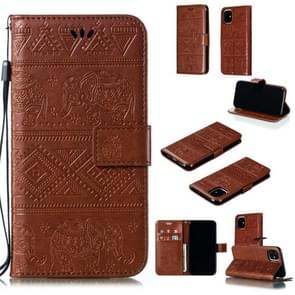 Elephant Embossing Horizontal Flip Leather Case with Holder & Card Slots & Wallet & Lanyard for iPhone 11(Brown)