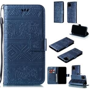 Olifant reliëf horizontale Flip lederen draagtas met houder & kaartsleuven & portemonnee & Lanyard voor iPhone XI Max (2019) (blauw)