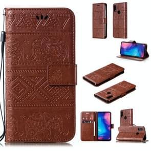 Olifant reliëf horizontale Flip lederen draagtas met houder & kaartsleuven & portemonnee & Lanyard voor Xiaomi Redmi Note 7 (bruin)