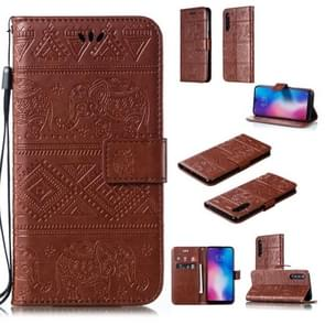 Elephant Embossing Horizontal Flip Leather Case with Holder & Card Slots & Wallet & Lanyard for Xiaomi Mi 9(Brown)