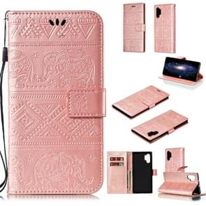 Elephant Embossing Horizontal Flip Leather Case with Holder & Card Slots & Wallet & Lanyard for Galaxy Note 10+(Rose Gold)