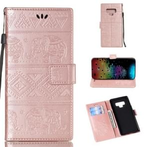 Elephant Embossing Horizontal Flip Leather Case with Holder & Card Slots & Wallet & Lanyard for Galaxy Note 9(Rose Gold)
