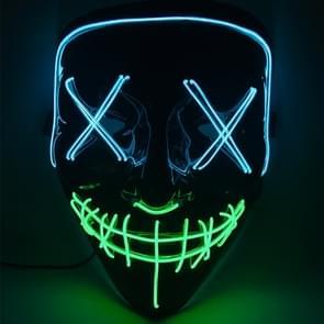 Halloween Festival partij X gezicht naad mond twee kleur LED luminescentie masker (blauw groen)