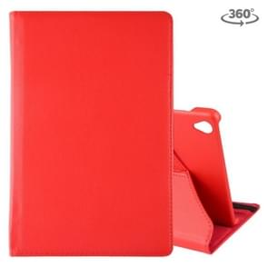 Litchi Texture Horizontal Flip 360 Degrees Rotation Leather Case for Galaxy Tab S6 T860, with Holder(Red)