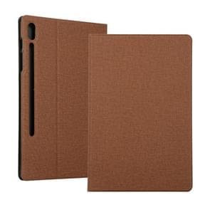 Spanning stretch stof textuur horizontale Flip lederen case voor Galaxy tab S6 T860  met houder (bruin)