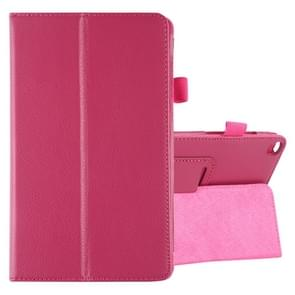 Litchi Texture Horizontal Flip Leather Case with Holder for Galaxy Tab A8.0 T290(Rose Red)
