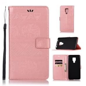 Elephant Embossing Horizontal Flip Leather Case with Holder & Card Slots & Wallet & Lanyard for Huawei Mate 20 X(Rose Gold)