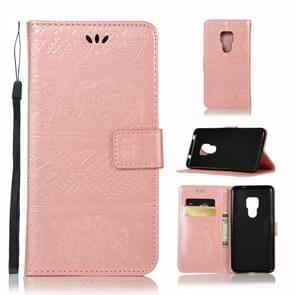 Elephant Embossing Horizontal Flip Leather Case with Holder & Card Slots & Wallet & Lanyard for Huawei Mate 20(Rose Gold)