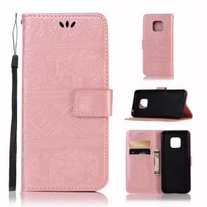 Elephant Embossing Horizontal Flip Leather Case with Holder & Card Slots & Wallet & Lanyard for Huawei Mate 20 Pro(Rose Gold)