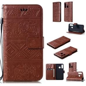 Elephant Embossing Horizontal Flip Leather Case with Holder & Card Slots & Wallet & Lanyard for Huawei P30 Lite(Brown)