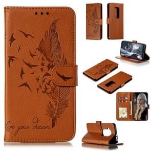 Feather Pattern Litchi Texture Horizontal Flip Leather Case with Wallet & Holder & Card Slots For Motorola One Pro(Brown)