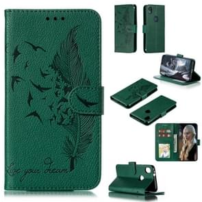 Feather Pattern Litchi Texture Horizontal Flip Leather Case with Wallet & Holder & Card Slots For Motorola Moto E6(Green)