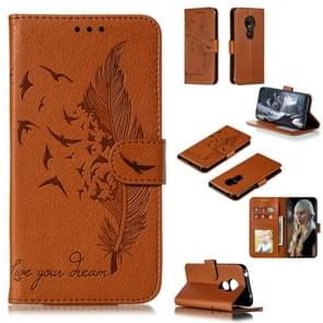 Feather Pattern Litchi Texture Horizontal Flip Leather Case with Wallet & Holder & Card Slots For Motorola Moto G7 Play(Brown)