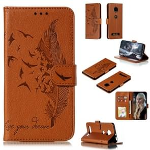 Feather Pattern Litchi Texture Horizontal Flip Leather Case with Wallet & Holder & Card Slots For Motorola Moto Z4 Play(Brown)