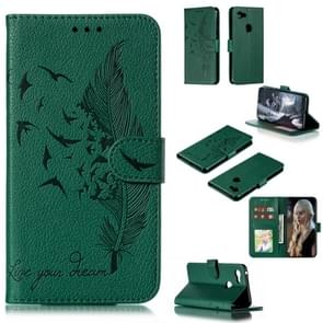 Feather Pattern Litchi Texture Horizontal Flip Leather Case with Wallet & Holder & Card Slots For Google Pixel 3 XL(Green)