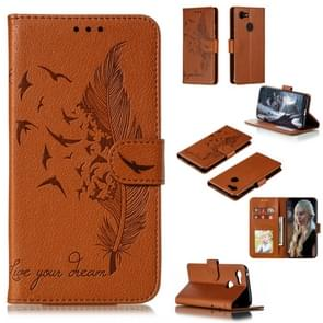 Feather Pattern Litchi Texture Horizontal Flip Leather Case with Wallet & Holder & Card Slots For Google Pixel 3(Brown)