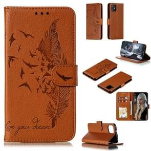 Feather Pattern Litchi Texture Horizontal Flip Leather Case with Wallet & Holder & Card Slots For Google Pixel 4(Brown)