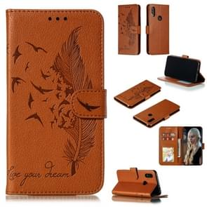 Feather Pattern Litchi Texture Horizontal Flip Leather Case with Wallet & Holder & Card Slots For Xiaomi Redmi 7(Brown)