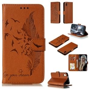 Feather Pattern Litchi Texture Horizontal Flip Leather Case with Wallet & Holder & Card Slots For Xiaomi Redmi 7A(Brown)
